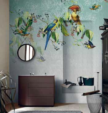 Тапети за баня от винил на WALL&DECÒ, модел Valery's parrot, дизайн на Valeriа Zaltron. Предлага Верде Интериори