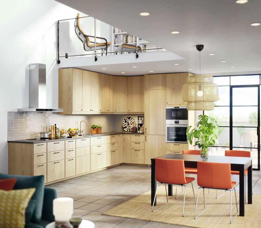 Кухня Metod с врати и чела Ekestad от дъб и чекмеджета с плавно затваряне от IKEA